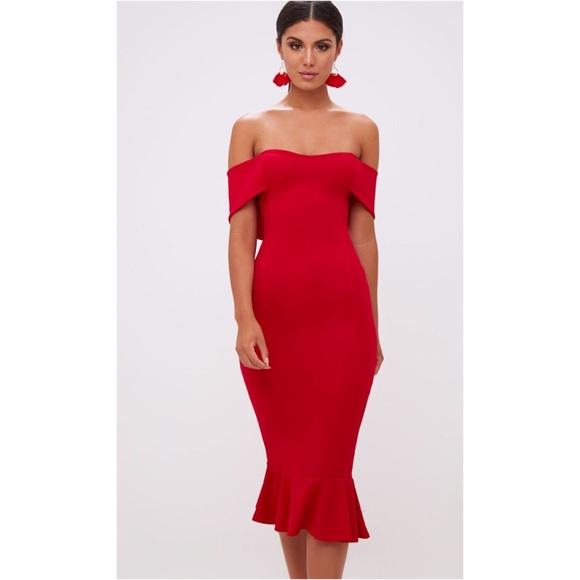 a6a1c0b2509a PrettyLittleThing Dresses | Red Bardot Frill Hem Midi Dress | Poshmark